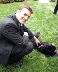 Steve petting the First Dog.