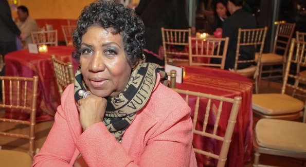 Aretha Franklin at the Thelonious Monk 25th Anniversary Celebration. Photo by Alfredo Flores.
