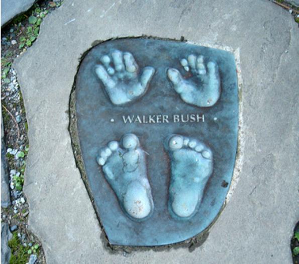 George W. Bush's hand and footprints in the Children's Garden. (Photo taken by JoshBerglund19)