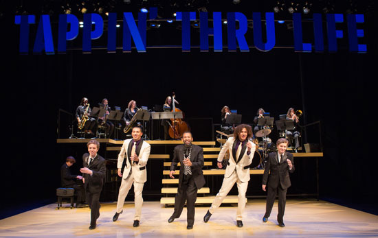 From left: Max Heimowitz, John Manzari, Maurice Hines, Leo Manzari and Sam Heimowitz, with members of the DIVA Jazz Orchestra, in 'Maurice Hines is Tappin' Thru Life' at Arena Stage at the Mead Center for American Theater. (Photo by Teresa Wood)