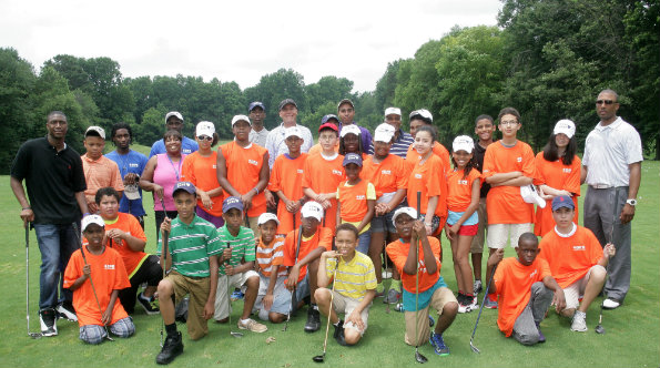 Participants in the Camp Hart annual golf event at Woodmore Country Club.