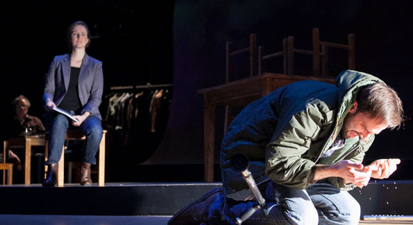 """Elizabeth Anne Jernigan and Danny Gavigan in Theatre J's """"The Admission."""" (Photo by C. Stanley Photography)"""