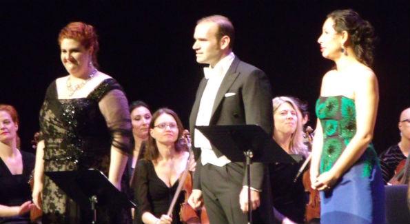 L to R:  Soprano Tamara Wilson, tenor Michael Fabiano and soprano Nicole Cabell take a bow together.