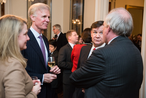 From left: Genevieve and Fred Ryan Jr. (Chair of White House Historical Association Board), Steve Thomma (President of the WHCA), and Mike McCurry (WHHA Board and former Press Secretary for President Bill Clinton). (Photo by Matthew Paul D'Agostino / WHHA)