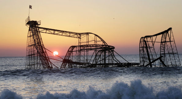 The Jet Star Roller Coaster was found in the ocean after part of New Jersey's Funtown Pier was destroyed during Superstorm Sandy (AP Photo/ Mel Evans, File)