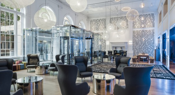 The sleek, modern lobby is a great spot to chat with friends, grab a drink or get some work done. Photo courtesy Radisson Blu.