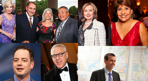 Clockwise from top left: Andrea Mitchell, David and Susan Axelrod with Tony Podesta, Hillary Clinton, Janet Murguia, David Plouffe, David Rubenstein, Reince Priebus (Photos by Tony Powell, Kyle Samperton and Flickr)