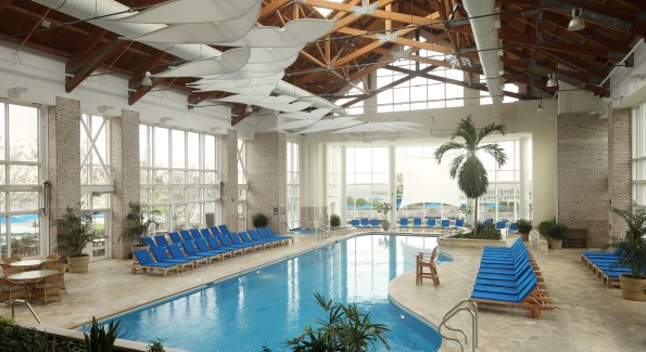 Off-season, or on rainy days, the indoor pool and Winter Garden is a great spot to be. Photo courtesy the Hyatt Chesapeake.