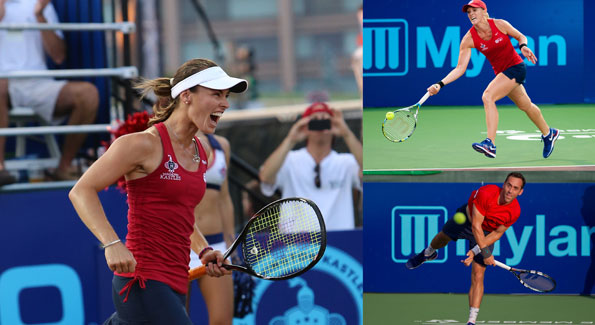 Clockwise from left: Martina Hingis, Anastasia Rodionova and Bobby Reynolds (Courtesy photos)