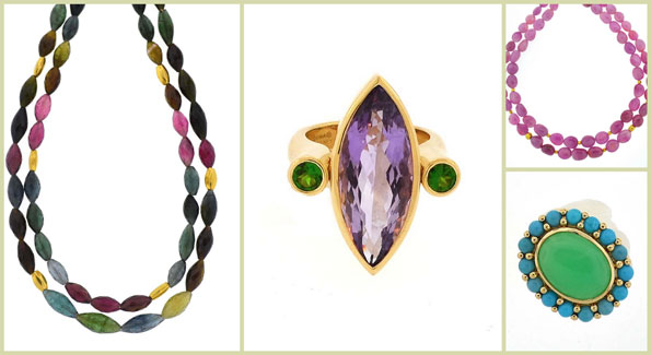 """Dina Mackney designs from left: tourmaline double necklace, """"Amy"""" chrome ring, pink sapphire necklace and turquoise and chrysoprase ring. (Courtesy photos)"""