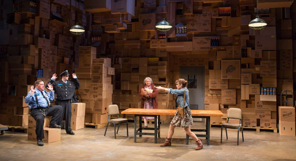 (L-R): Delaney Williams as Otto, Adi Stein as Dom, Jayne Houdyshell as Alma and Jenna Sokolowski as Phyllis. (Photo by Teresa Wood)