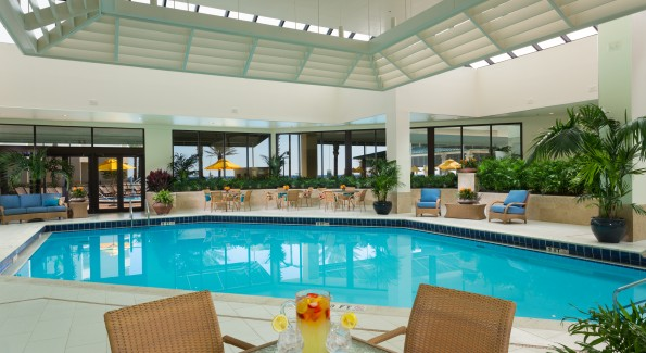 If the weather doesn't cooperate, guests can swim in the heated indoor pool. Photo courtesy Hilton Sandestin.