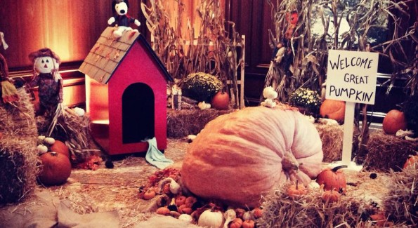 The fall display in the lobby of the Ritz Carlton Tysons Corner boasts a pumpkin that weighs more than 600 pounds.  (Photo courtesy TAA PR)