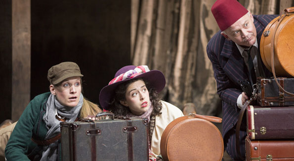 Zoë Waites as Rosalind, Adina Verson as Celia and Andrew Weems as Touchstone in the Shakespeare Theatre Company production of William Shakespeare's As You Like It, directed by Michael Attenborough. Photo by Scott Suchman