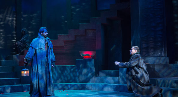 """The Ghost of Caesar (Michael Sharon, left) tells Brutus (Anthony Cochrane) """"Thou shalt see me at Philippi"""" in Julius Caesar (Photo by Teresa Wood)"""