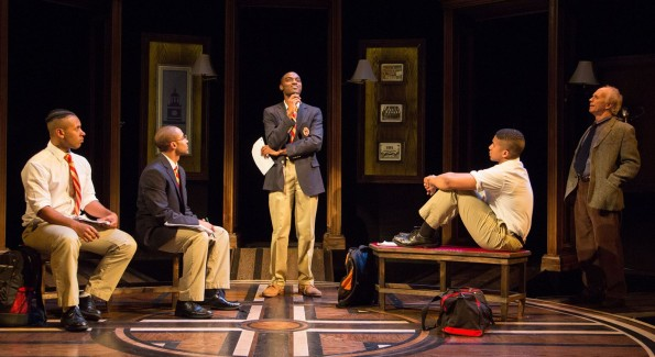 Keith Antone, Jonathan Burke, Jelani Alladin, Jaysen Wright, and Alan Wade in Choir Boy at Studio Theatre. (Photo by Igor Dmitry)