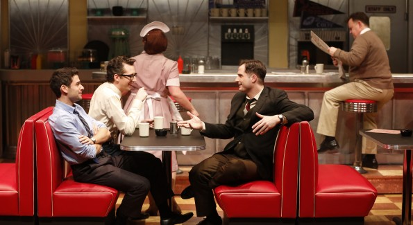 Adam Kantor, Josh Grisetti and Bryan Fenkart in Diner at Signature Theatre. (Photo by Carol Rosegg)