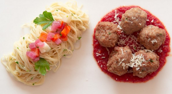 Pork and Veal Meatballs over seasonal vegetables and pasta: one of the entree options on härth's Foodie-in-Training menu. Photo courtesy of härth,