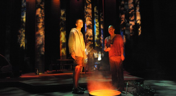 """Paul Morella and Thomas W. Jones II in """"Cherokee"""" at Woolly Mammoth Theatre. (Photo by Stan Barouh)"""
