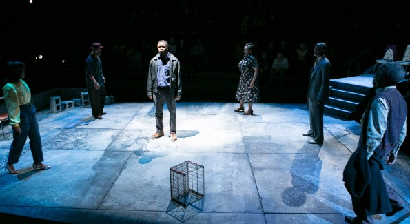 Bowman Wright as King and the cast of King Hedley II at Arena Stage. (Photo by C. Stanley Photography)