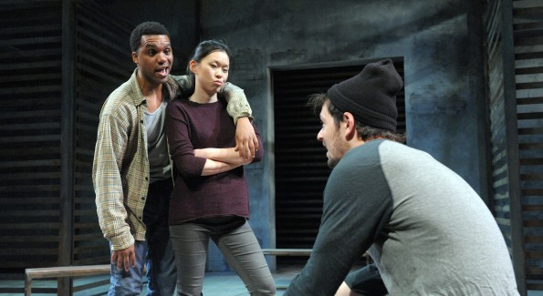 (L to R): DeLance Minefee, Jeena Yi and Ryan Barry in Woolly Mammoth's 'Lights Rise on Grace.' (Photo by Stan Barouh)