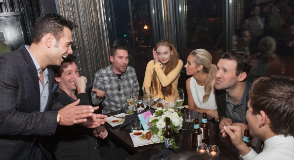 "WASHINGTON, DC - APRIL 24:  (L-R) Eric Podwall, JC Chasez, Bryan Singer, Sophie Turner, Candice Crawford, and Tony Romo attend ""The Evening Before""- a pre-White House Correspondents' Dinner party hosted by Eric Podwall and Spotify at Chaplin's Restaurant on April 24, 2015 in Washington, DC.  (Photo by Teresa Kroeger/Getty Images for Eric Podwall)"