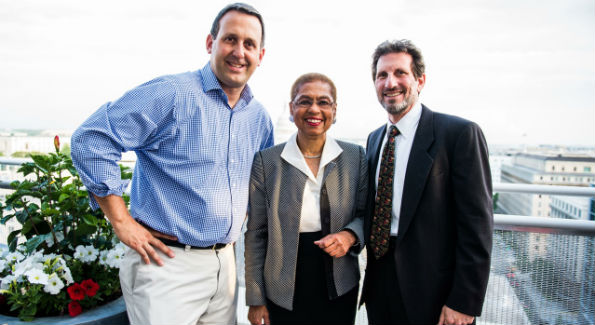DC Vote Chairman Ed Krauze , DC Delegate Eleanor Holmes Norton and DC Vote Co-founder Daniel Solomon at the inaugural 3 Star Ball. (Photo courtesy Moki Media)