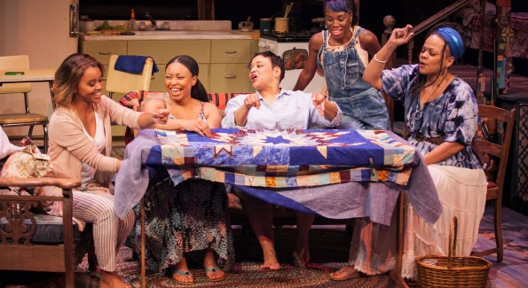 (L to R) Meeya Davis as Amber, Nikiya Mathis as Cassan, Caroline Clay as Gio, Afi Bijou as Zambia and Tonye Patano as Clementine in Katori Hall's The Blood Quilt at Arena Stage at the Mead Center for American Theater April 24-June 7, 2015. Photo by C. Stanley Photography.