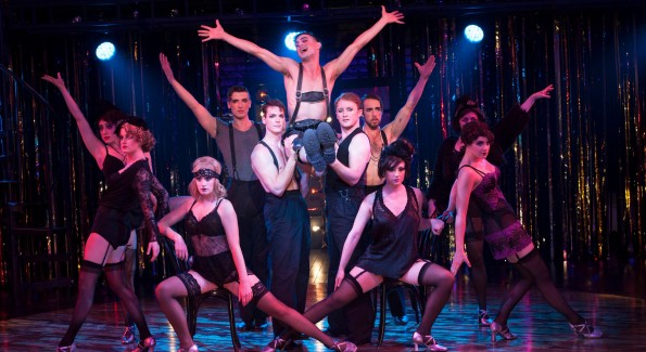 Wesley Taylor (Emcee) and the Kit Kat Boys and Girls in 'Cabaret' at Signature Theatre. (Photo by Margot Schulman)