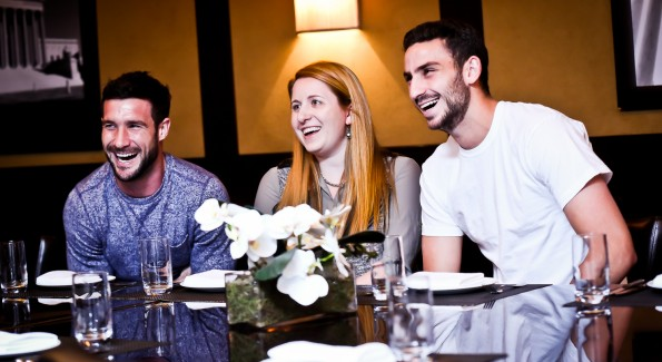Chris Pontius, Laura Wainman and Steve Birnbaum dish over lunch at BLT Steak (Photo by Tony Powell)