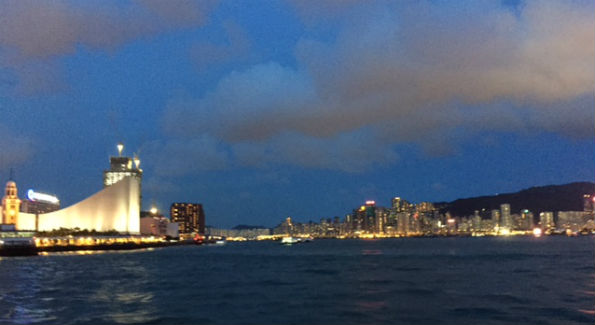 Hong Kong skyline at night from ferry (Photo by Kandie Stroud)