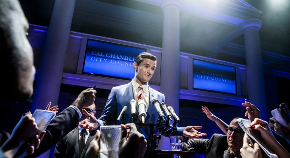 """Mark Evans (Cal Chandler) and the cast of """"The Fix"""" at Signature Theatre. (Photo by Christopher Mueller)"""