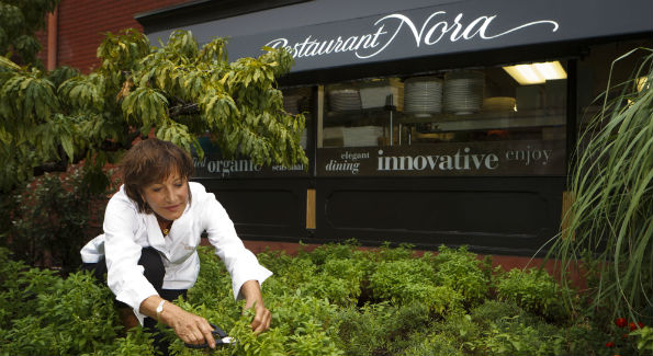 Nora Pouillon outside of Restaurant Nora (Photo by Scott Suchman)