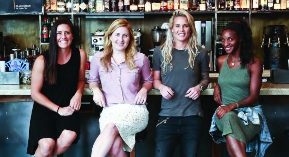 Ali Krieger, Laura Wainman, Ashlyn Harris and Crystal Dunn talk soccer over lunch at The Royal (Photo by Tony Powell)