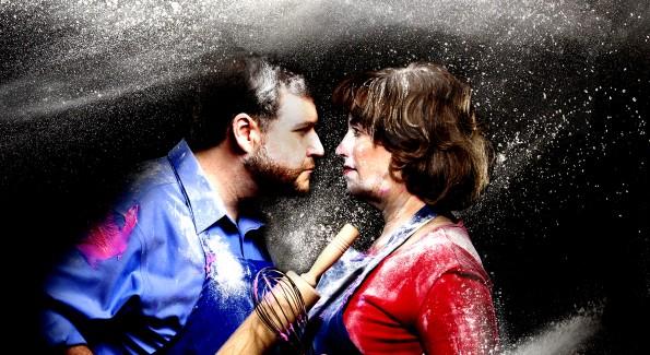 """Todd Buonopane and Sherri L. Edelen in """"Cake Off."""" (Photo courtesy Signature Theatre)"""