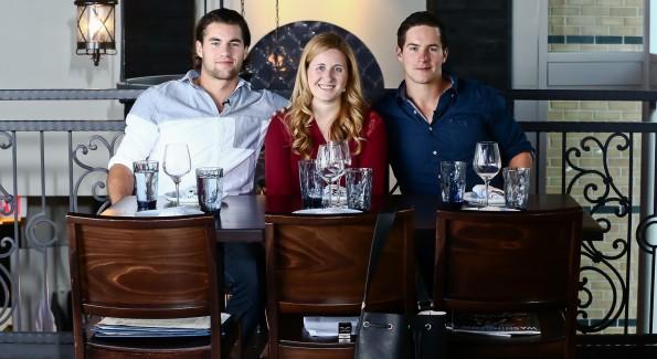 Tom Wilson, Laura Wainman and Michael Latta at Kapnos Taverna. (Photo by Tony Powell)