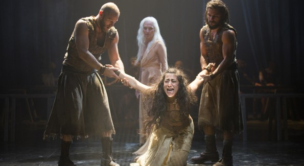 Foreground, from left: Elan Zafir as Abaddon, Nadine Malouf as Salomé, and Shahar Isaac as Bar Giora, with Olwen Fouéré, background, as Nameless Woman in Yaël Farber's Salomé at the Shakespeare Theatre Company. (Photo by Scott Suchman)