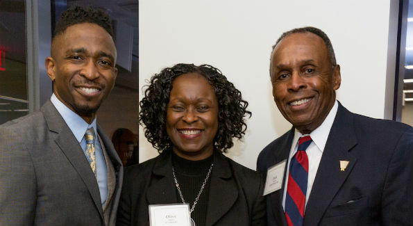 ETrade's Shane Jenerette and Olive Idehen with Quin Rivers' Jack Lanier (Photo Courtesy of Susan Campbell)
