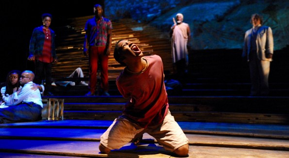 Isaiah Mays as Boy in 'Unexplored Interior' at Mosaic Theater. (Photo by Stan Barouh)