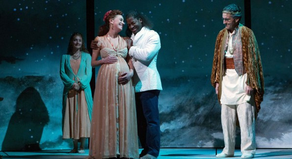 A blissful moment for parents-to-be Thaisa (Brooke Parks) and Pericles (Wayne T. Carr), with Lychordia (Emily Serdahl) and Simonides (Scott Ripley) looking on. Pericles is on stage at Folger Theatre, November 13 – December 20, 2015. (Photo by Teresa Wood)