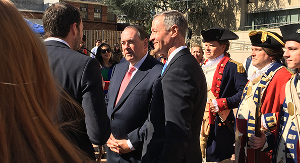 """Mike Huckabee with Martin O'Malley at """"Turn"""" event"""