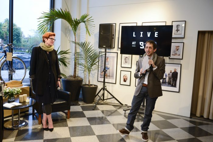 "Shinola's Bridget Russo and ""Live at 9:30"" producer Michael Holstein."
