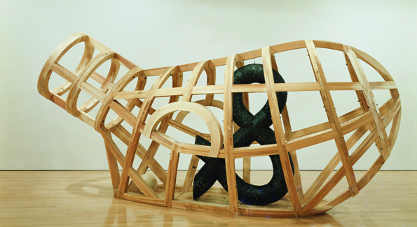 "Martin Puryear, ""Vessel,"" 1997-2002, eastern white pine, mesh and tar, courtesy of the artist. (c) Martin Puryear, courtesy Matthew Marks Gallery."
