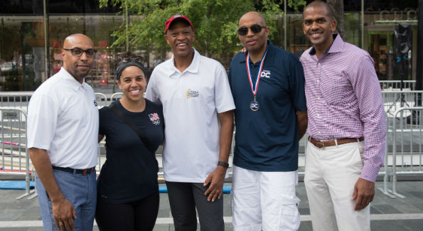Erik A. Moses (Events DC, senior vice president and managing director), Cara Heads Slaughter (Olympic weight lifter), Willie Banks (Olympic Triple Jump world record holder), Derrick Mays (Events DC), Gregory A. O'Dell (Events DC, president and CEO)