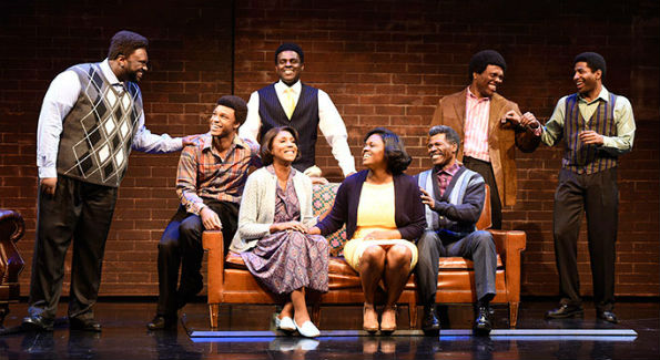 Cast members in Born for This: The BeBe Winans Story, which runs July 1-August 28, 2016 at Arena Stage at the Mead Center for American Theater. Photo by Greg Mooney, courtesy Alliance Theatre.