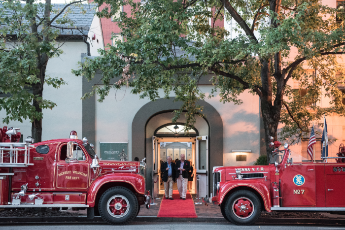 Vintage fire trucks from Rockville, MD and Vienna, VA make a grand entrance for guests at the Historic Decatur House. (Photo by Matthew DAgostino)