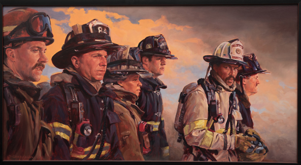 Chris Fagan's canvas honoring responders to the 9/11 attacks.
